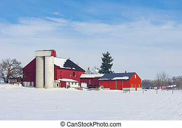 Barn in Snow Covered Meadow
