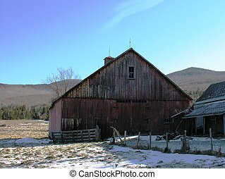 Barn in winter.