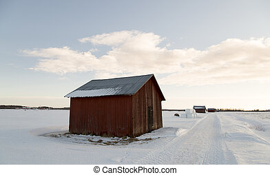Barn in Winter Field;