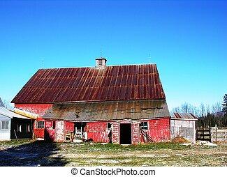 Barn in winter.