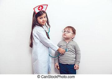 barn, ind, en, tøjsæt, i, doktoren, hos, patient
