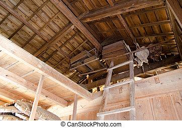 Barn inside and ladder