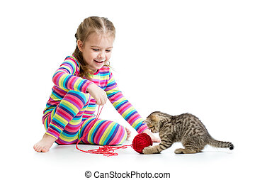 barn, isolerat, leka, bakgrund, kattunge, flicka, vit