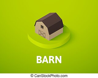 Barn isometric icon, isolated on color background
