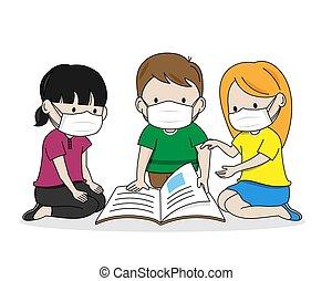 barn, läsning, vektor, isolerat, bok, masks.