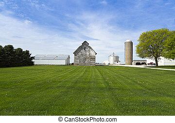 barn landscape - gray barn in the countryside