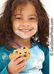 barn, le, kaka, mjöl
