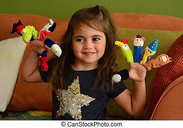 barn, lek, finger, dockor