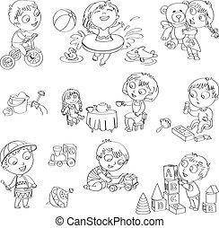 barn, lek, toys