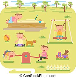 barn, lek, utomhus