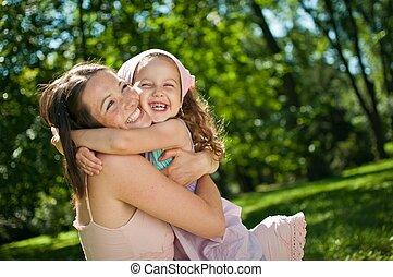 barn, -, lycka, henne, mor