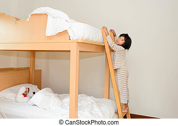 barn, lycklig, barn, rum, bunk-beds