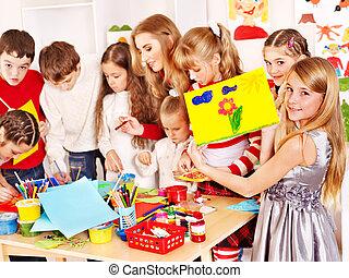 barn måla, hos, konst, school.
