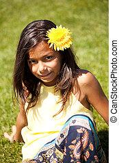 barn, med, a, blomma
