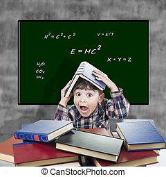 barn, med, a, snopen, uttryck, hos, den, klassrum