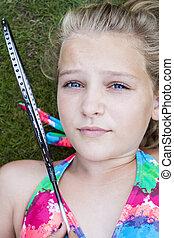 barn, med, badmintonracket