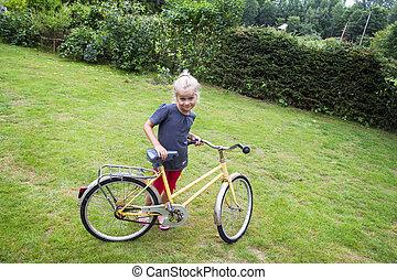 barn, med, cykel