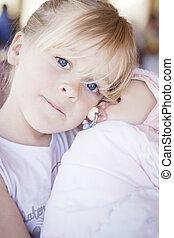barn, med, docka