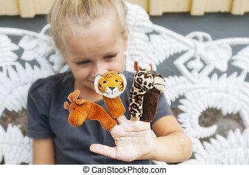 barn, med, finger, puppets