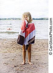 barn, med, handduk