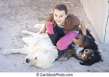 barn, med, hundkapplöpning