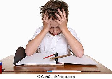 barn, med, inlärning, svårigheten