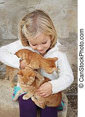 barn, med, kattungar
