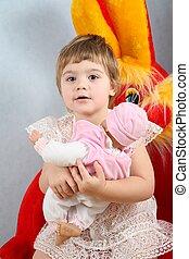 barn, med, marionett