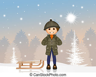 barn, med, sleigh, in, den, snö