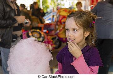 barn, med, spunnet socker
