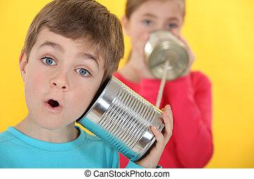 barn, meddela, med, konservburk burk