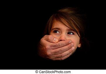 barn missbruk, -, begrepp, foto