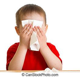 barn, näsa, avtorkning, med, vävnad