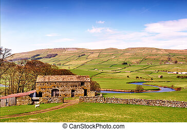 Barn near River Ure in the Yorkshire Dales - A stone built...