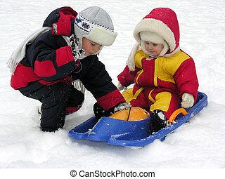barn, och, baby., vinter, 2