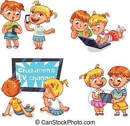 barn, och, teknisk, progress., rolig, tecknad film, tecken