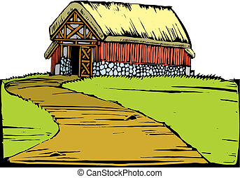 Barn on Hill - Scratchboard image of a red barn with a turf...