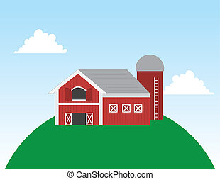 Barn on Hill Scene