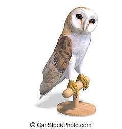 Barn Owl Bird. 3D rendering with clipping path and shadow over white