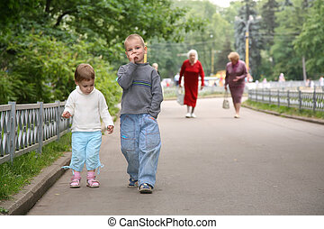 barn, på banan, i parken