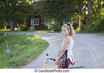 barn, på, cykel, på, landsroad