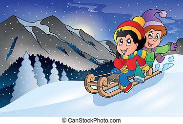 barn, på, kälke, in, vinter