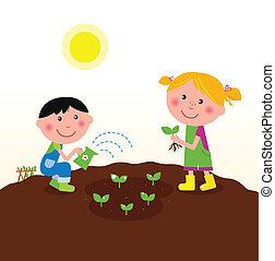 barn, plantande, planterar, in, trädgård