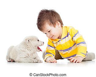 barn pojke, leka, med, valp, hund