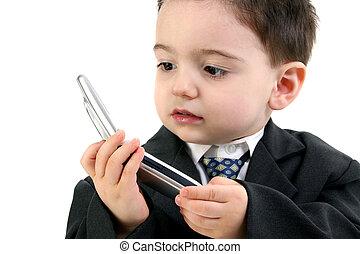 barn pojke, mobiltelefon