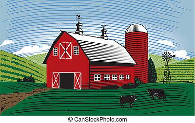 Barn Scene - A farm scene with barn, cattle and farmland