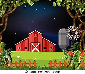 barn scene at night