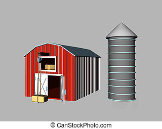 Barn & Silo - Isolated rendered barn and silo
