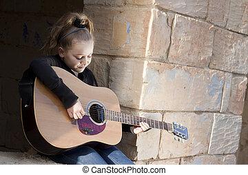 barn spela, gitarr