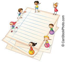 barn spela, hos, den, papper, kanter